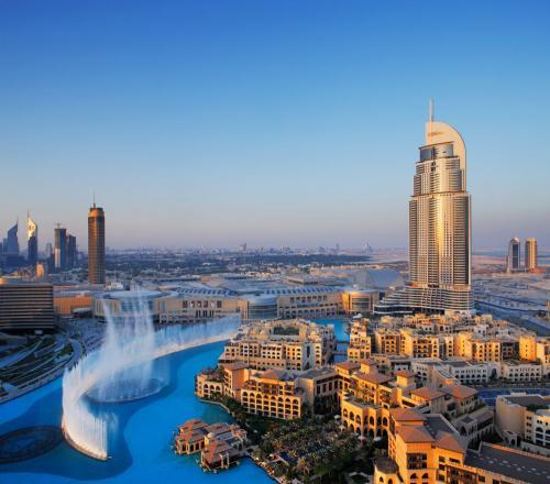 Downtown Dubai with its famous dancing water fountain